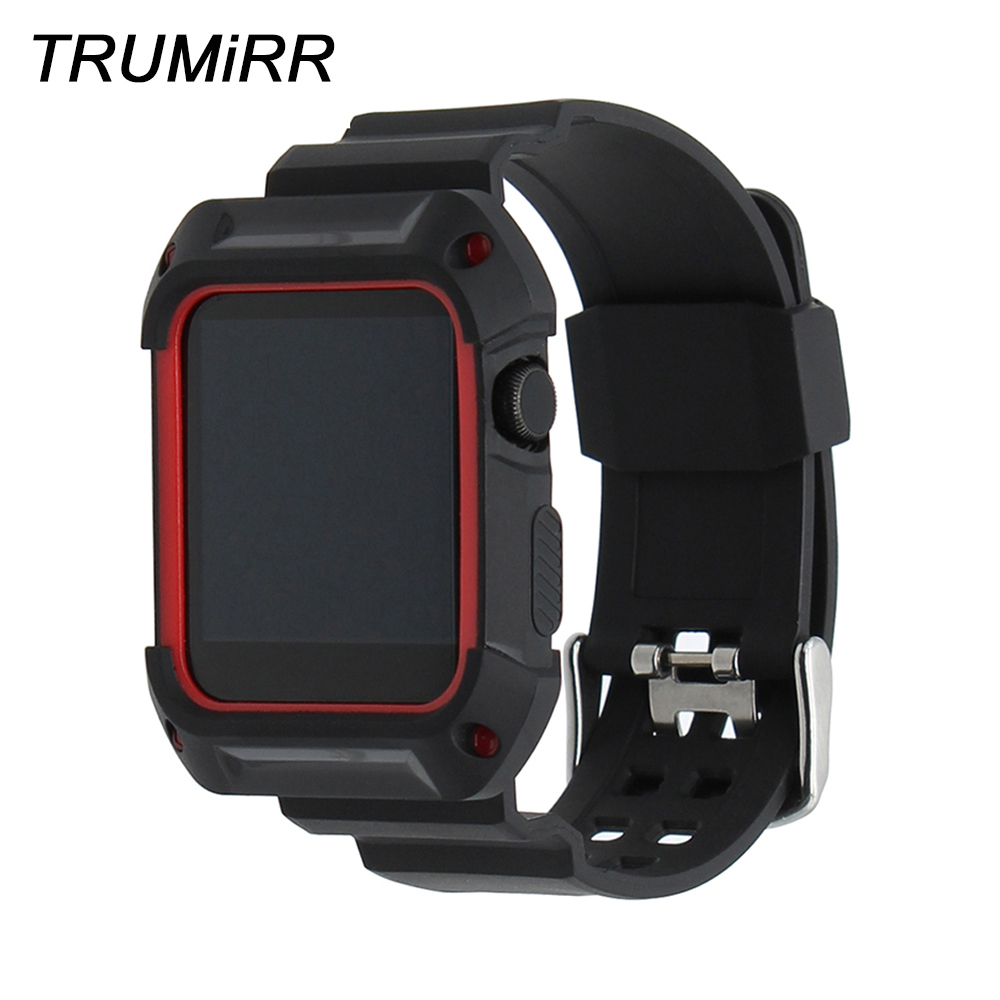 TPU Rubber Watchband with Protective Case for 38mm 42mm iWatch Apple Watch Band Wrist Strap Bracelet with Frame Black Red White stylish protective tpu bumper frame w buttons for iphone 4 4s white black