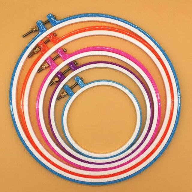 Круглый петля Вышивка крестом ручной DIY иглы Ремесло обруча дерево пластик рамки бытовой случайный цвет кольцо круг