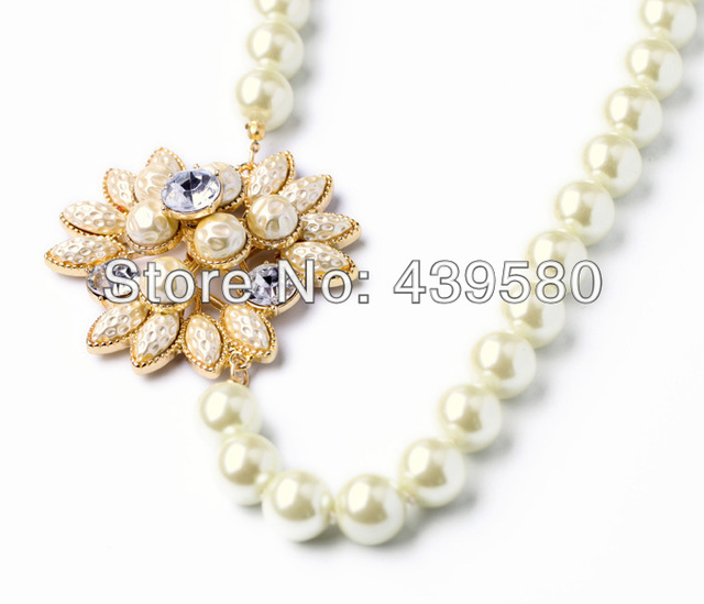 NEW New Hot Sale Jewelry Major Suit 2014 Accessories White Pearl Necklace For Women Gift