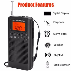 Image 4 - Jinserta 휴대용 미니 fm/am 라디오 스피커 음악 플레이어 알람 시계 lcd 디지털 디스플레이 지원 배터리 및 usb 전원
