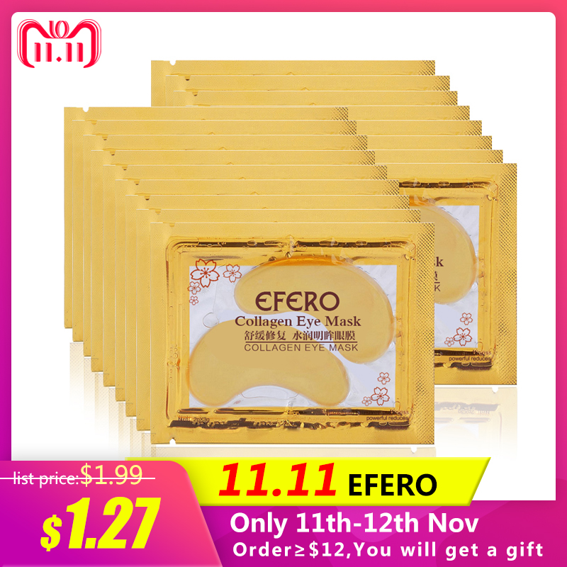 5Pack EFERO Collagen Gold Eye Mask Eye Patch Face Mask Eye Patches for the Eyes Crystal Gold Masks Anti Dark Circle Eyelid Patch eyes masks skin care 60pcs black pearl gel mask collagen crystal eye mask patch dark circle eyelid anti wrinkle lines
