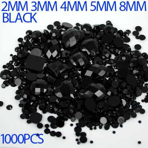 Mix Sizes Black Color Round Strass Acrylic Loose Non-Hotfix Flatback Rhinestone Nail Art Crystal Stones For Wedding Decorations