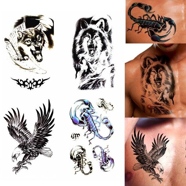 Tomtosh Waterproof Tattoo Sticker Eagle Wolf Wolf Head Tattoo Water
