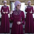 Fashionable Chiffon Marroquino Kaftan Muçulmano Evening Contas Vestido de Manga Comprida Senhoras Vestido Formal Longo Festa Vestido Abaya Em Dubai