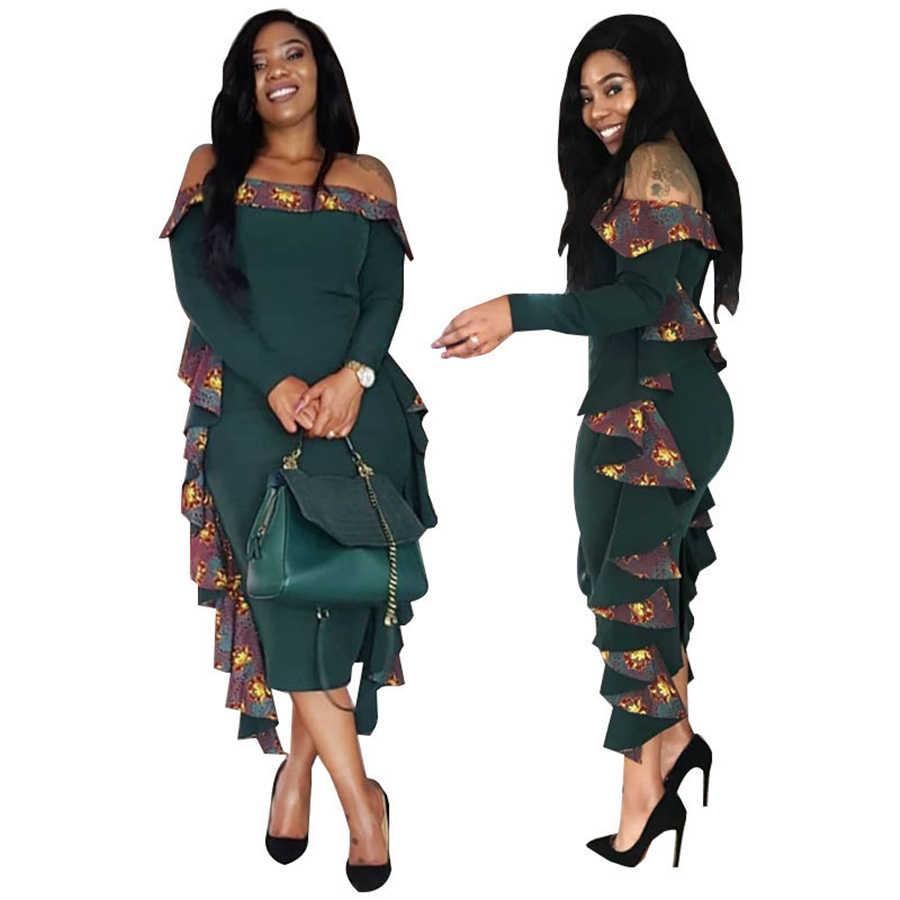 BAIBAZIN Afrikanische Frau Kleid Mode Sexy Wort Schulter Lange Ärmel Mit Fluttered Seite Stricken Kleid
