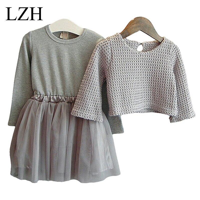 Girls Dress Winter 2016 New Children Clothing Girls Long sleeved Dress 2 Piece Knitted Dress Kids
