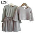 Girls Dress Winter 2016 New Children Clothing Girls Long-sleeved Dress 2 Piece Knitted Dress Kids Tutu Dress For Girls Costumes