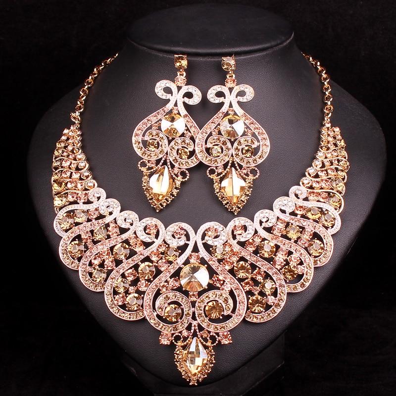Luxus Brautschmuck Sets Hochzeit Verlobung Halskette Ohrring Set - Modeschmuck - Foto 4