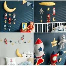 Cute Cloud Moon Rocket Star DIY Wall Hanging Mount Kids Room Kindergarten Baby Bed Decor Toys Artwork Wall Dolls Photo Props(China)