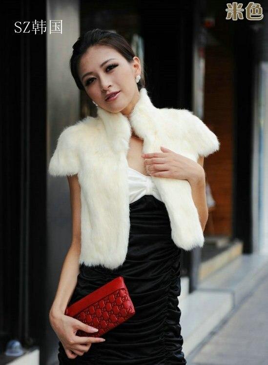 2019 Frauen Echt Kaninchen Pelz Weste Gilet Poncho Cape Jacken Schal Kurze Schlank Custom Größe Mode-design Kostenloser Versand Z042