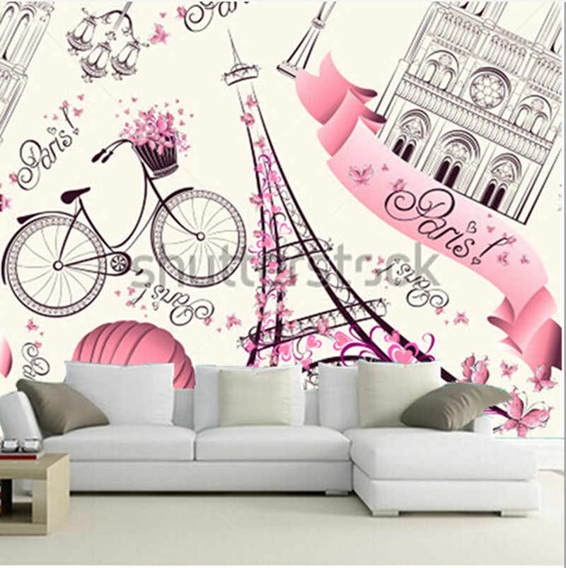 Custom 3D large  murals, paris symbols pattern romantic travel in Paris, living room sofa TV wall bedroom background wall paper