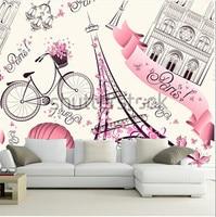 Custom 3D Large Murals Paris Symbols Pattern Romantic Travel In Paris Living Room Sofa TV Wall