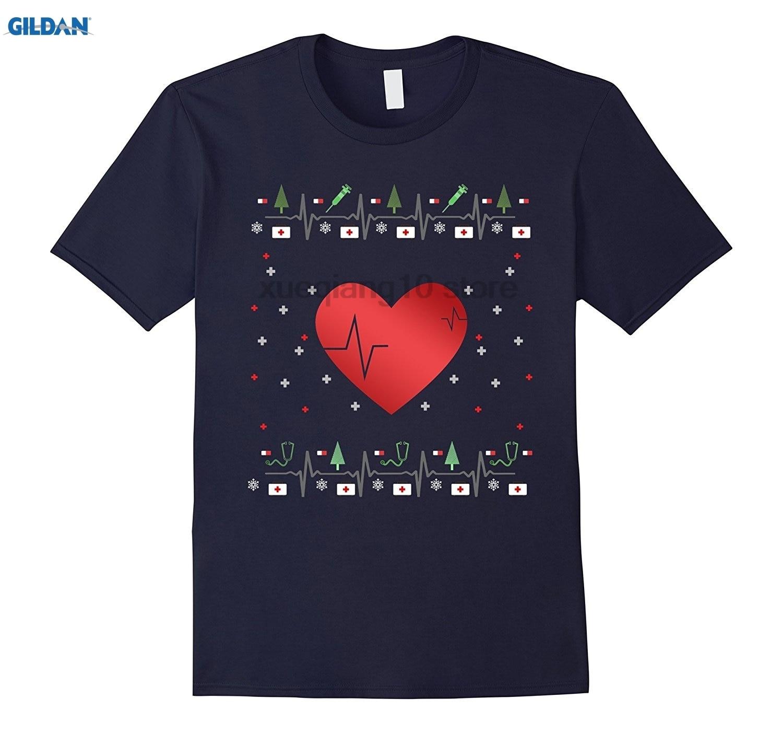 GILDAN GILDAN Nurses Ugly Christmas T Shirt with Heart Shots Doctor Bag