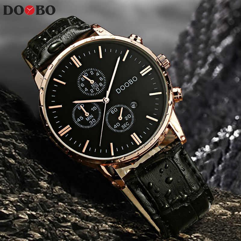 Лидирующий бренд, Роскошные Кварцевые часы, мужские деловые повседневные наручные часы с кожаным ремешком, мужские спортивные часы, мужские часы