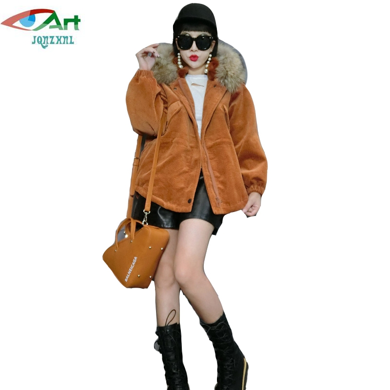 JQNZHNL Women Faux Fur Hooded Corduroy Cotton Jacket Coats 2017 Winter Coats Fashion Long Sleeved Casual Thicken Down Parkas P36 faux fur contrast cuff corduroy jacket