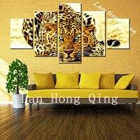 Drop Shipp 5 Pcs New Arrival Hot Sale Leopard Animals HD Poster Bedroom Wall Decoration Oil