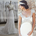 Vestido de Novia Low-cut Cap Sleeve Rhinestones Empire Maternity Lace Wedding Dress for Pregnant Women 2016 Bridal Gowns W3661
