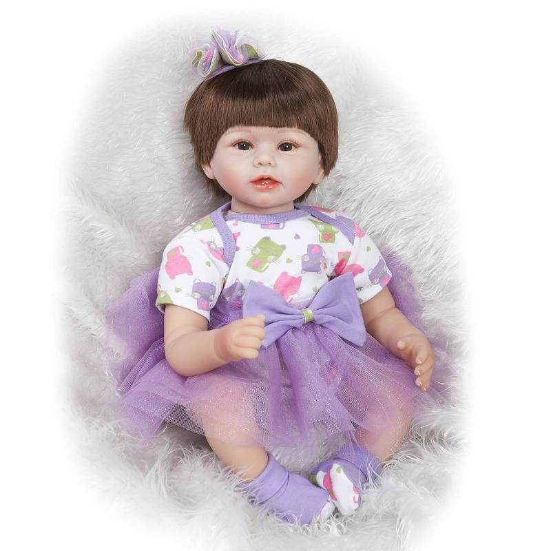 55cm Soft silicone reborn baby doll lifelike newborn girl babies simulation doll toy child princess birthday gift play house toy 55cm npk collection doll silicone reborn baby doll toy lifelike newborn girl babies child princess birthday gift play house toy