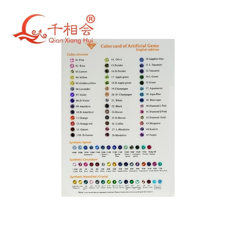 Cubic Zirconia corundum spinel nano loose stone color chart for english by qianxianghui