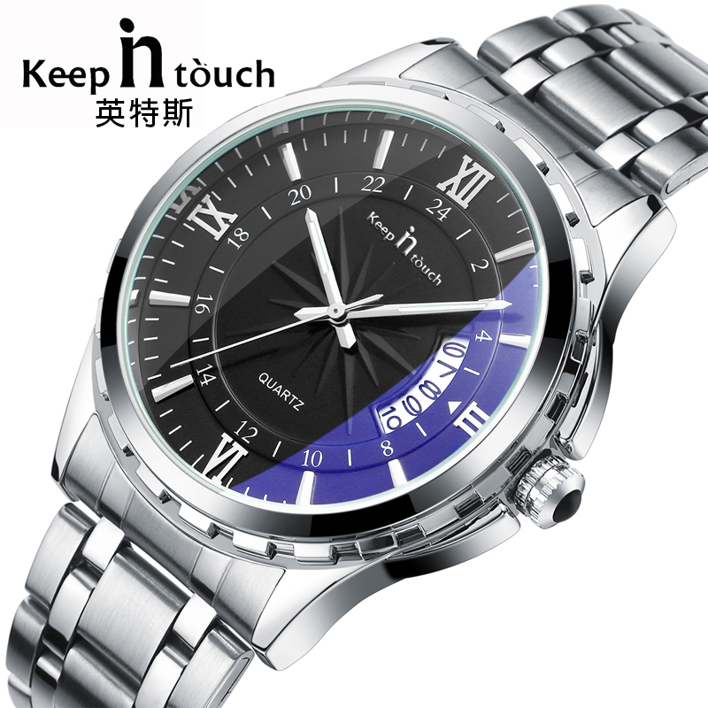 Top Luxury Brand Watch Men Calendar Water Resistant Noctilucent Stainless Steel Wristwatch Aquamarine Relogio Masculino