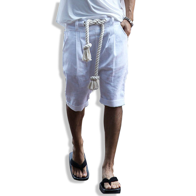 Summer men punk shorts fashion casual street male beach shorts men belt linen shorts stage clothing K145