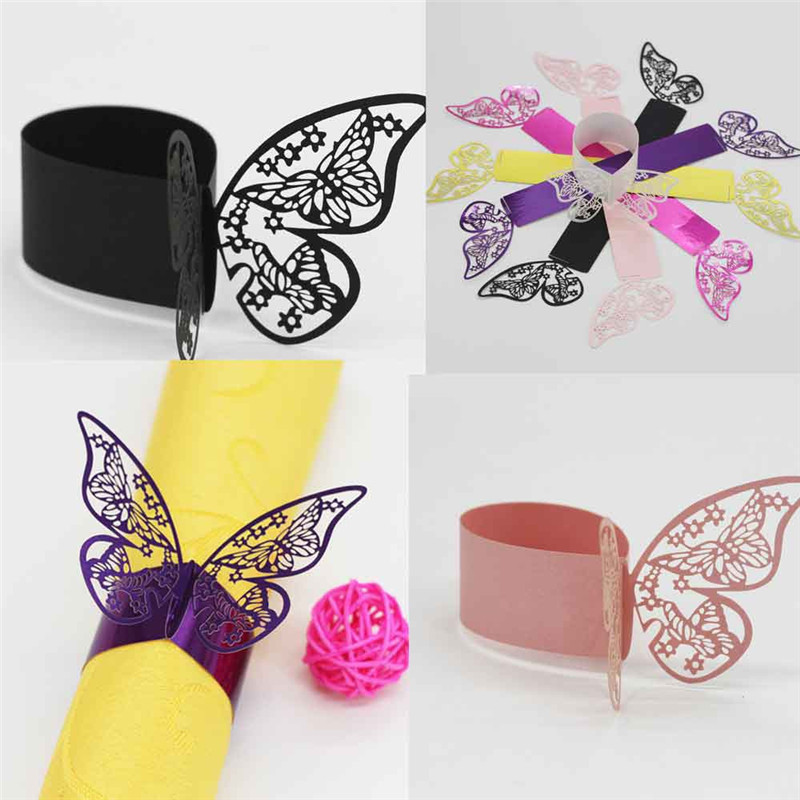 Laser Cut Cards Napkin Rings Wrappers Table Decoration Butterfly Wedding Party Favors Paper Decor 2016 new sale