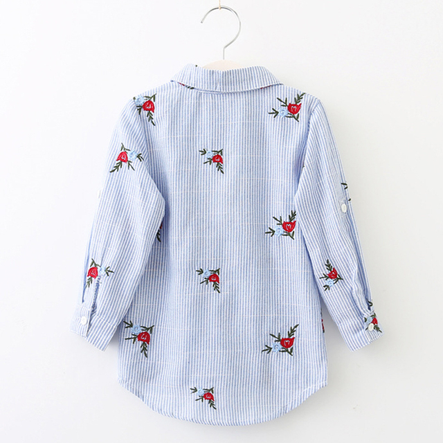 Girls' Cotton Floral Shirt with Turn-Down Collar