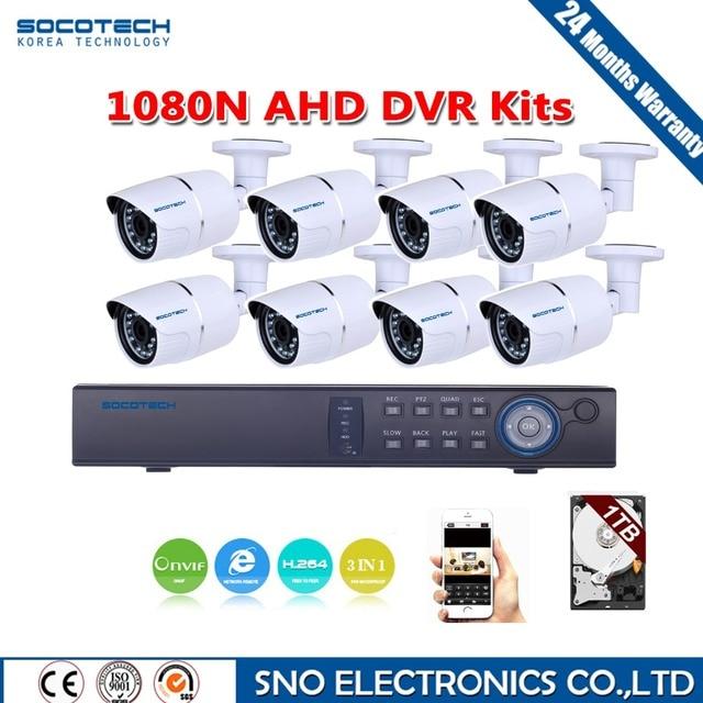 SOCOTECH 1920*1080 P HD Открытый Камеры Безопасности Системы 1080N HDMI CCTV ВИДЕОНАБЛЮДЕНИЯ 8-КАНАЛЬНЫЙ DVR Kit AHD Камеры набор