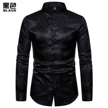 (European Code) 2019 Autumn Fashion MenS New Cashew Flower High-End Long-Sleeved Henry Collar Shirt Party