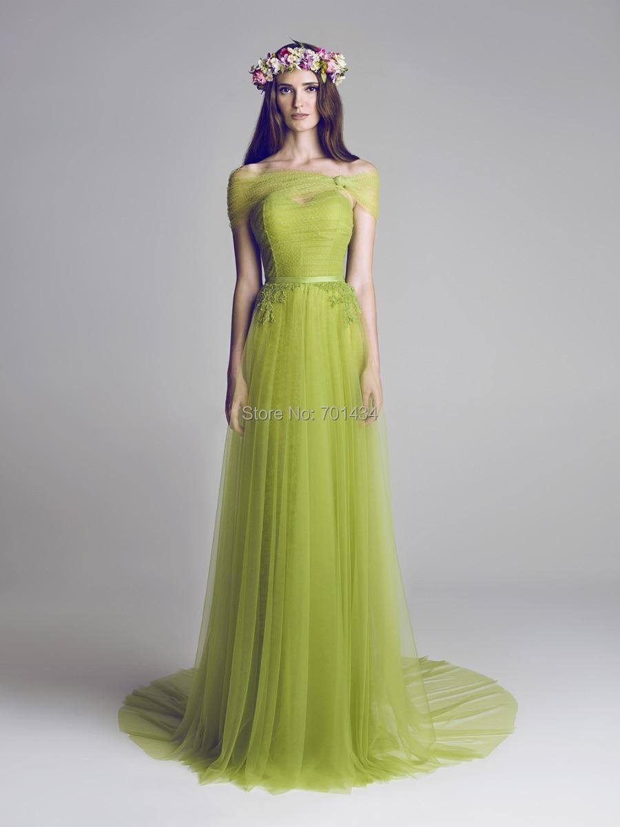 Vestidos de damas color verde olivo