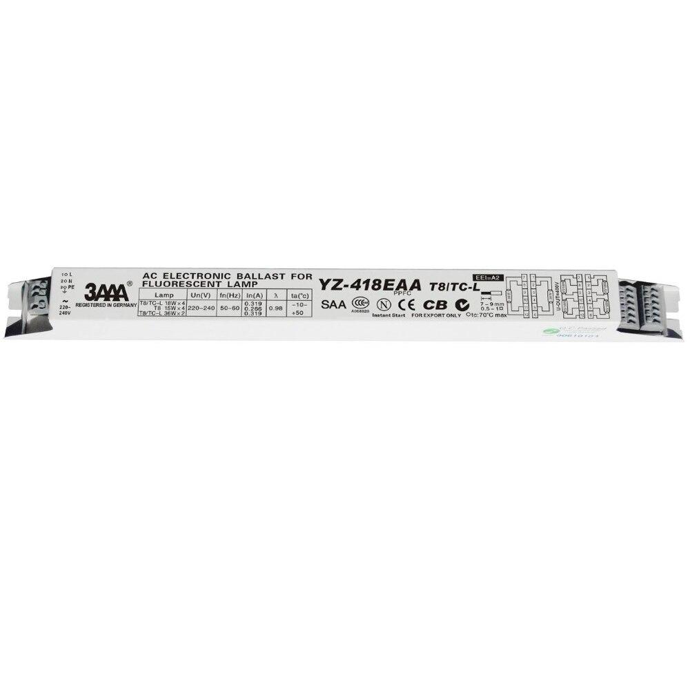 Ballast électronique à ca de 3AAA YZ-418EAA 220 V T8/TC-L 18WX4 15WX4 36WX2 pour la lampe fluorescente T8 de la Machine d'impression de réservoir de poissons