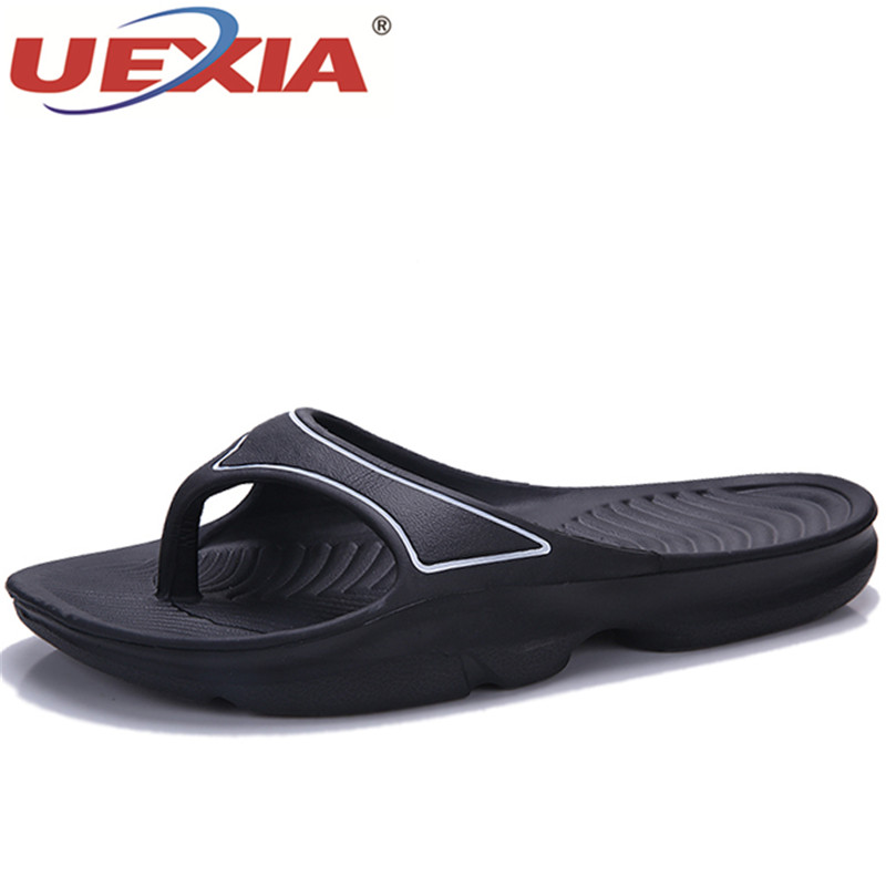 UEXIA Outside Men Slippers Beach Shoes Men Flip Flops 2018 EVA Summer Flats Heels Male Slides Luxury Outdoor Beach Breathable