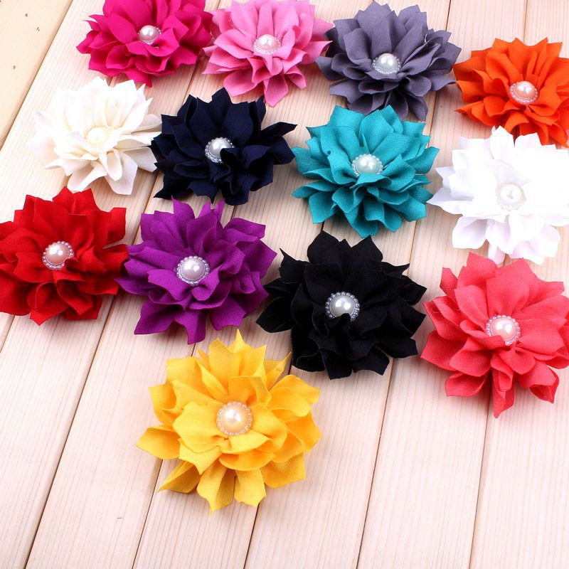 """120pcs/lot 3.6"""" 13 Colors Hair Clips Fabric Flower Accessories For Kids Girl Lotus Leaf Flower With Pearl Daisy For Headband DIY-in Hair Accessories from Mother & Kids    1"""
