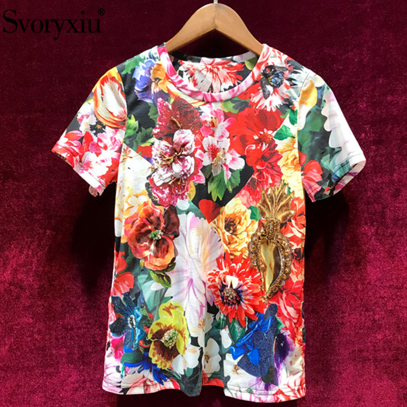 Svoryxiu Women's Summer Flower Print Cotton Short Sleeve T Shirts Manual Diamond Casual Plus Size Runway Tops Tees Female