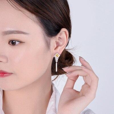 Funmor Elegant Drop Earrings 925 Sterling Silver Brincos Women Lady Wedding Engagement Shinning Ear Jewelry Zirconia Oorbellen