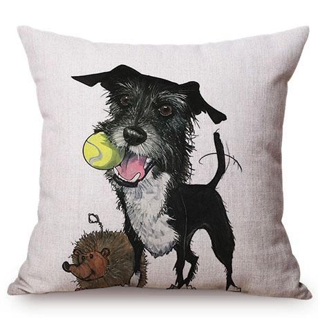 Pet Dog Animals Funny Style Cushion Cover Dachshund Schnauzer Dog Children Like Cotton Linen Sofa Decorative Throw Pillow Case M110-4