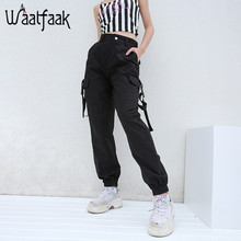 Waatfaak Black Pencil Pants Women Cargo Long Streetwear Elastic High Waist Pocket Pantalon Femme Buckle Belt Harajuku Casual