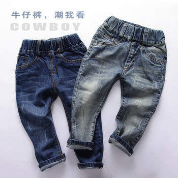 1-10y Baby boys jeans 2017 spring fashion children denim pants ripped style elastic waist kids long trousers 1