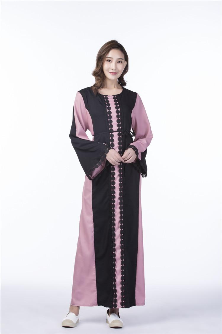 Ihram Kids For Sale Dubai: 2018 Lace Pink And Black Patch Muslim Dress Chiffon