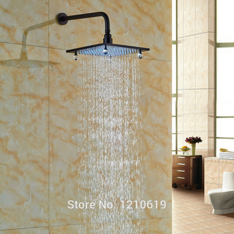 Newly Luxury Crystal 10 Top Shower Head Oil Rubbed Bronze LED Color Changing Rain Shower Spray Head w/ Shower Arm newly color changing led 16 rain shower head sprayer oil rubbed bronze top shower head w arm wall mount