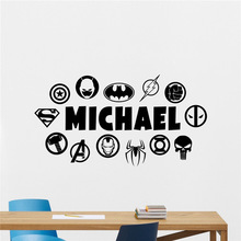 Superheroes Wall Decal Custom Name DC Marvel Logo Comics Vinyl Sticker Decor Teen Boy Room Bedroom