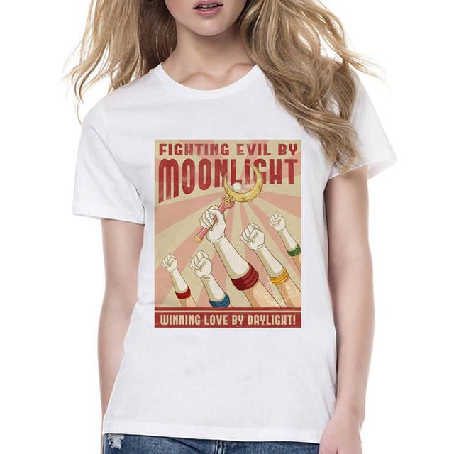 sailor moon t shirts women female Fashion print cat women t-shirt 2017 summer funny Tee shirt Femme harajuku kawaii tops
