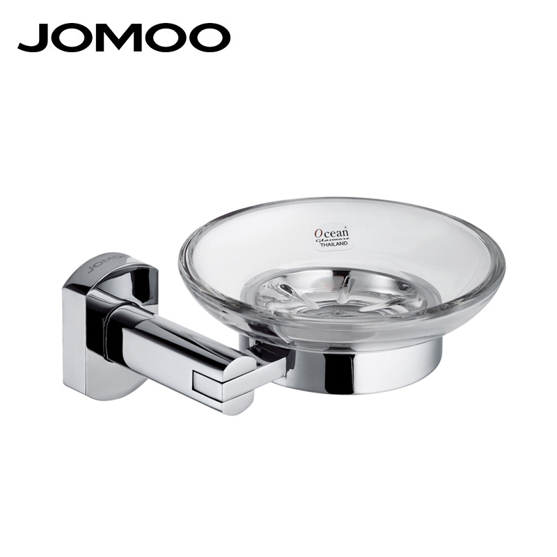 JOMOO Chrome Wall Mounted Zinc Alloy Soap Dish Soap Holder Box Soap Basket Glass Dish With Removable Holder Bathroom Accessories wall mounted plastic soap dish holder