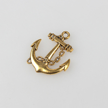 2017 Free shipping 5pcs/lot 32MM Retro Zinc Alloy Golden Boat Anchor Charm Pendants For DIY Bracelet Jewelry Accessories