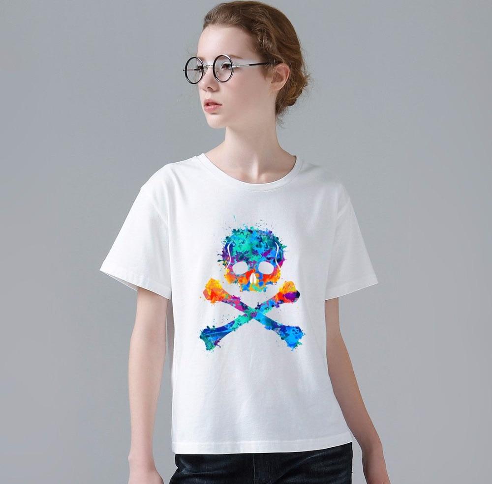 Zinc shirt design - 2017 Newest Women Fashion Watercolor Skull Design T Shirt Novelty Graffiti Tops Ladies Custom Printed Short