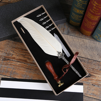 2019 new European retro natural feathers water calligraphy pen set graduation gift office desk decoration