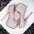 New Sexy Women Platform Thin Heels Shoes OPen Peep Toe Single 14CM Ultra High Heels Women Bling High-heeled Party Wedding Shoes