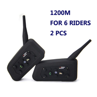 2 PCS Motorcycle Bluetooth Intercom V6 Helmet Intercom 6 Riders 1200M Walkie Talkie Helmet BT Interphone