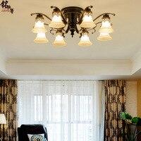 Krajem ameryki oświetlenie sufitowe LED oświetlenie loft żelaza szkło światła sypialni oświetlenie lampy do salonu oświetlenie restauracji w Oświetlenie sufitowe od Lampy i oświetlenie na