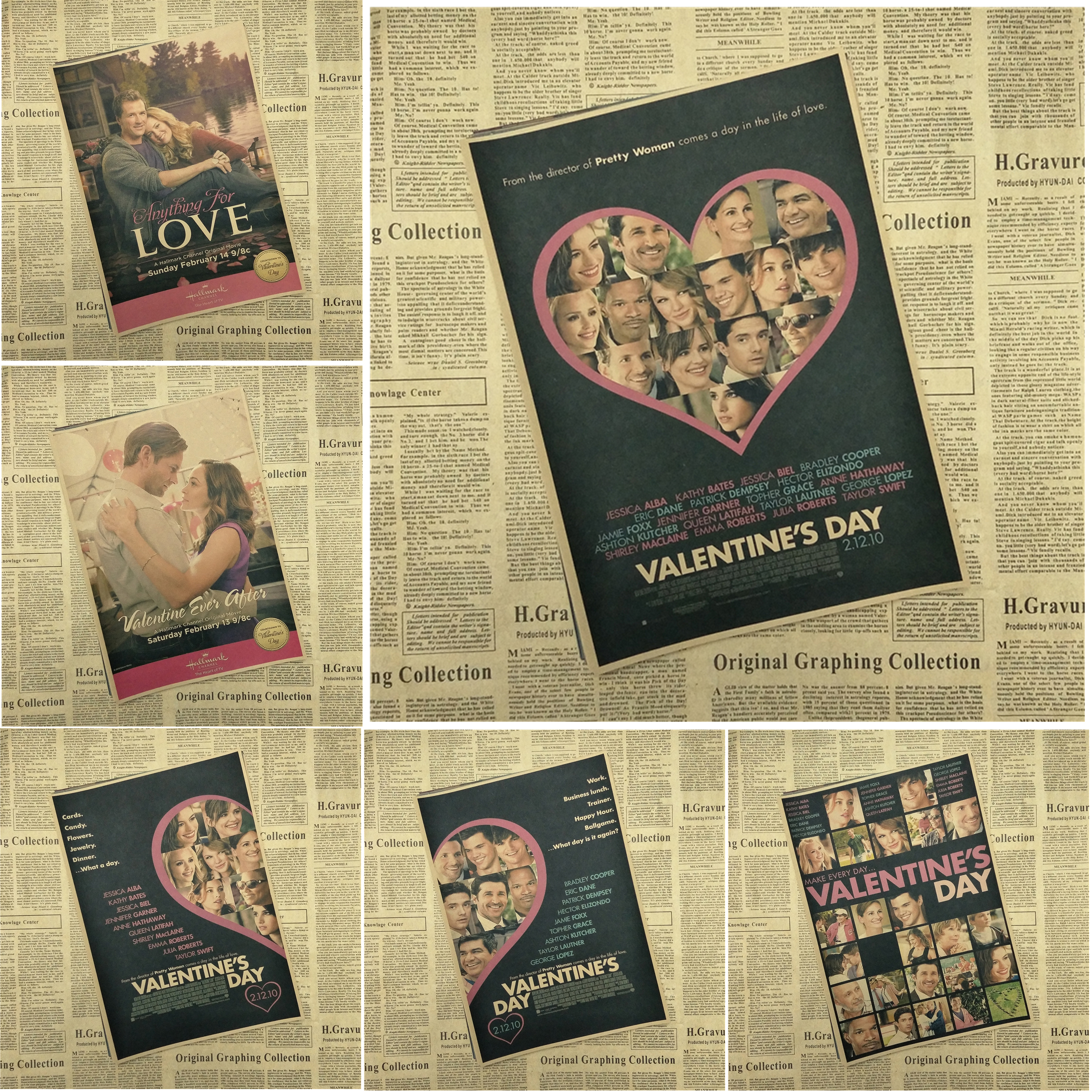 Valentine\'s Day Classic Movie Kraft Paper Poster Bar Cafe Living ...